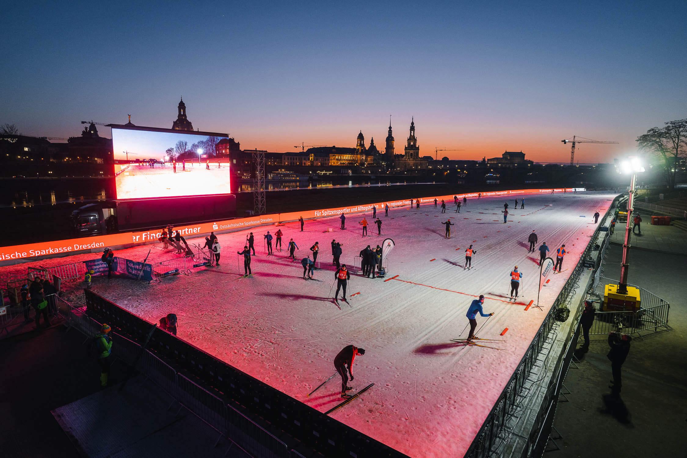 Skiareal Ski Weltcup in Dresden mit bekanntem Panorama